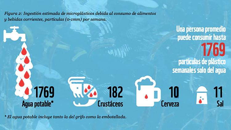 La cantidad estimada de microplásticos que se consumen de forma involuntaria en distintos productos