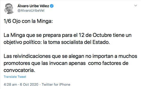 El primero de seis trinos de Álvaro Uribe Vélez sobre La Minga (Twitter: @AlvaroUribeVel)