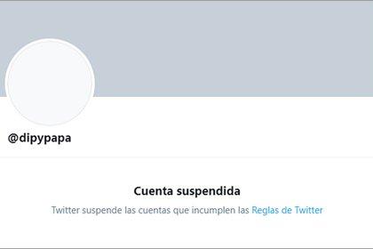 Hasta nuevo aviso: la cuenta @dipypapa, suspendida