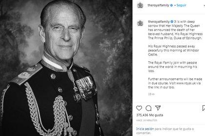El comunicado oficial de la Familia Real en Instagram