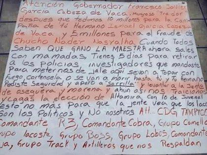 """En 2019 aparecieron dos narcomantas que advertían que García Cabeza de vaca no cumplió con un presunto acuerdo de """"permitirle operar al Cártel del Gofo  en el estado (Foto: Archivo)"""