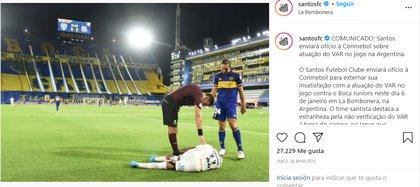 El comunicado de Santos tras el empate ante Boca por la primera semifinal de la Copa Libertadores