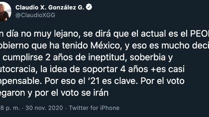 """González Guajardo ha sido uno de los más férreos críticos del gobierno denominado """"Cuarta Transformación"""" (4T)(Foto: Twitter@ClaudioXGG)"""
