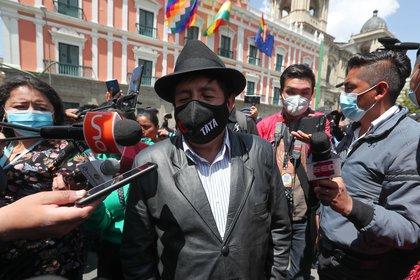 """En la imagen un registro del ex viceminsitro y líder aimara Rafael """"El Tata"""" Quispe, en La Paz (Bolivia)"""