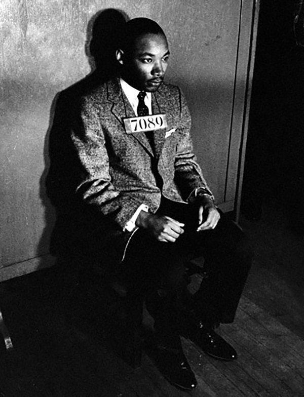 King, en una foto policial, tras su arresto por organizar un boycot a los autobuses que se gregaban a los negros. 24 de febrero de 1956