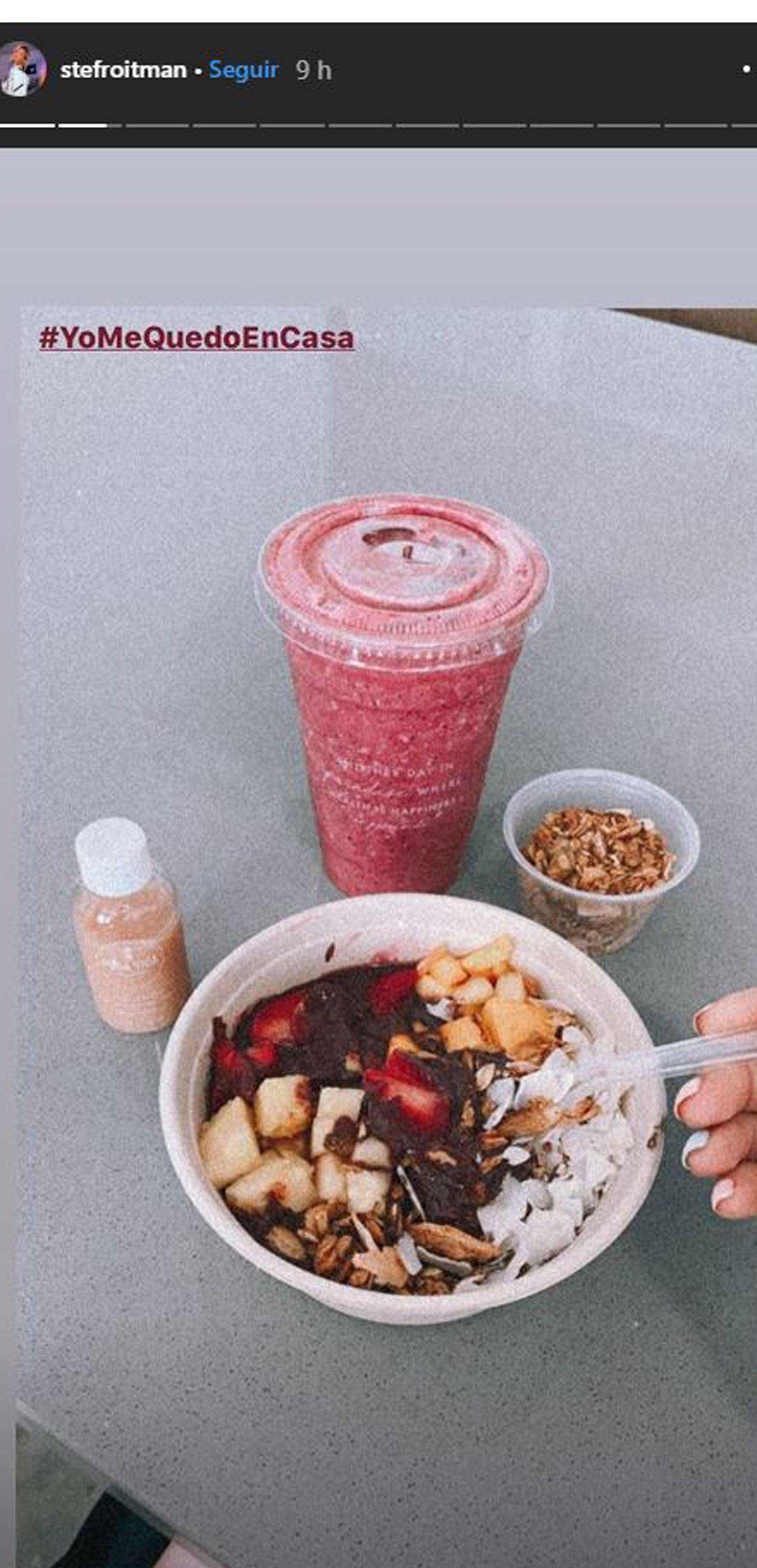 El desayuno que mostró Stefi Roitman desde sus cuentas al inicio de la cuarentena (Foto: Instagram)