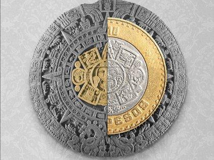 El centro de las monedas de 10 pesos es el rostro de Tonatiuh, Dios que representa al sol para los mexicas. (Foto: Tomada de Twitter @HSBC_MX)