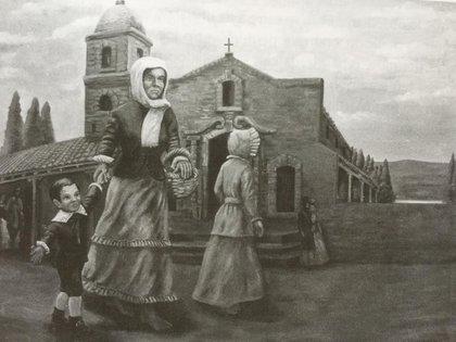 Rosa Guarú, llevando de la mano al niño José. Cuadro que se conserva en un museo en Corrientes.