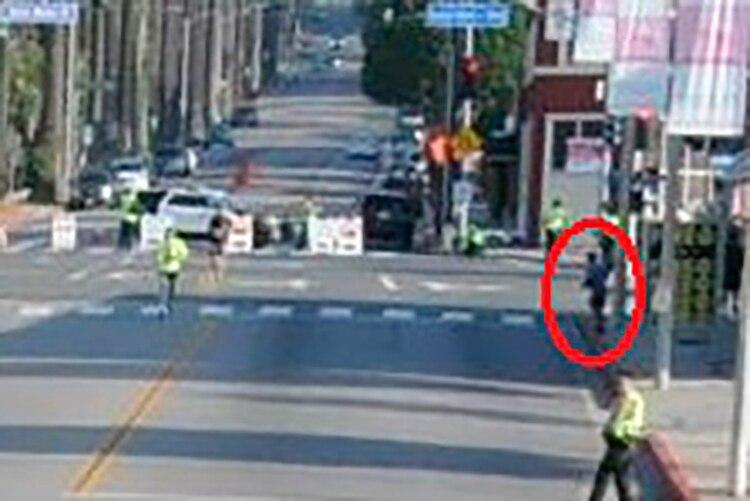 Una de las imágenes que Murphy presentó como prueba de que Meza se había salido de la ruta de la Maratón de Los Angeles en 2019.