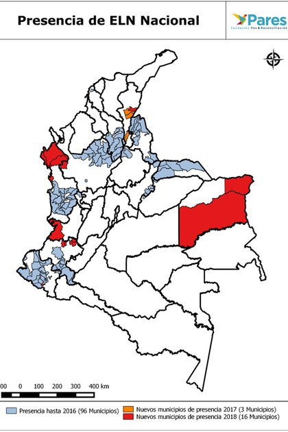 Mapa sobre la presencia del ELN a nivel nacional. (Fuente: Fundación Paz & Reconciliación)