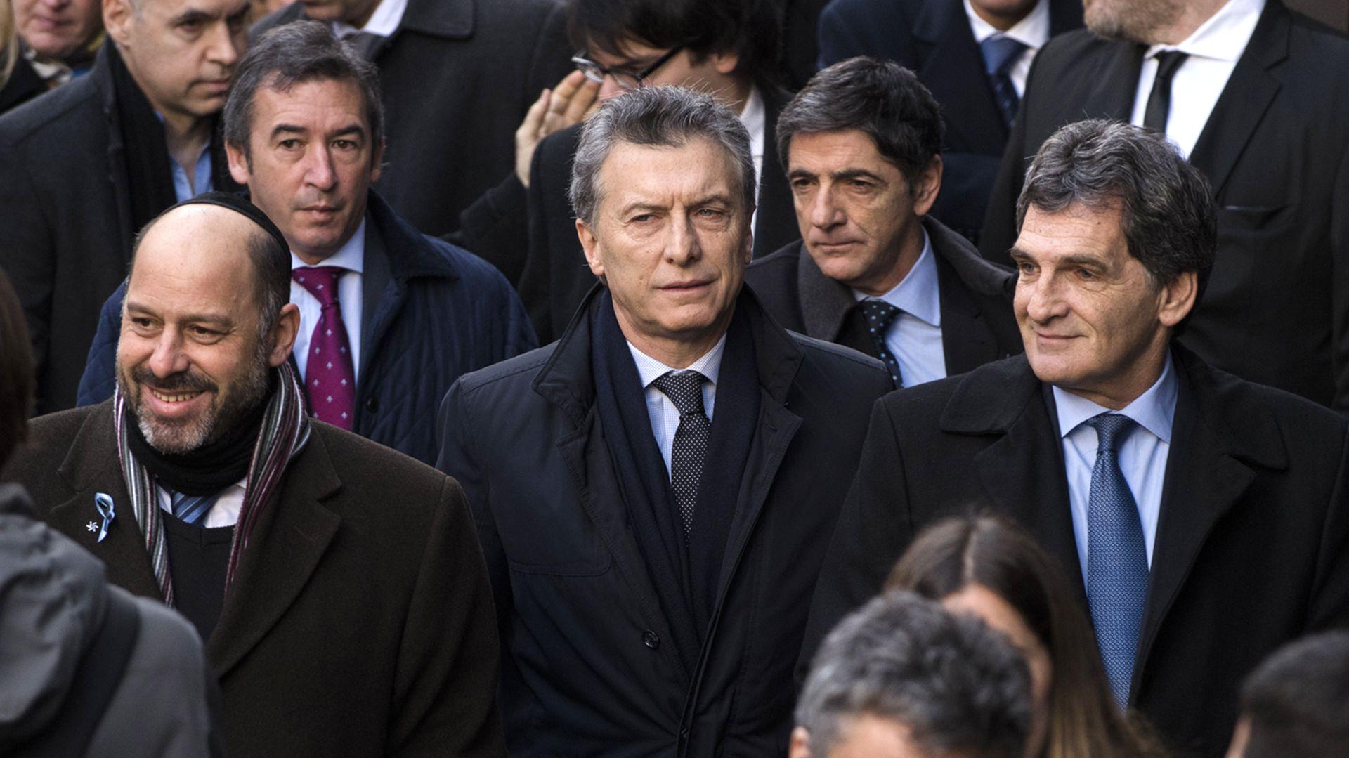 Mauricio Macri, en el 2016, en el acto de la AMIA (Adrián Escandar)