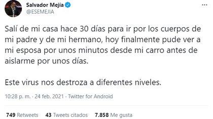 Salvador Mejía ha contado su experiencia con la enfermedad desde que su hermano y padre estaban enfermos  (Foto: Salvador de Mejía / captura de pantalla)