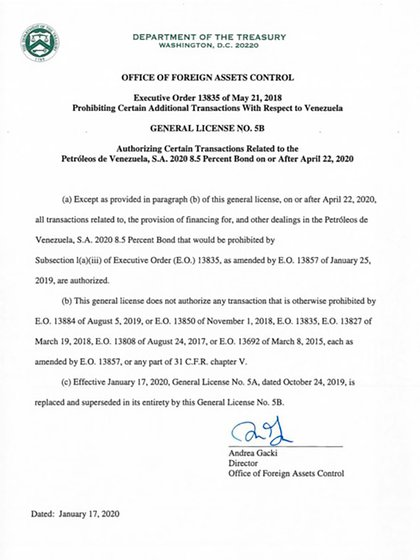 El Departamento del Tesoro estadounidense extendió por 90 días la licencia que impide que tenedores del bono PDVSA 2020 ejecuten la garantía sobre Citgo