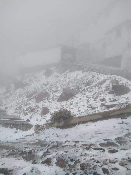La primer nevada del año se registró en el Cofre de Perote. (Foto: Especial)
