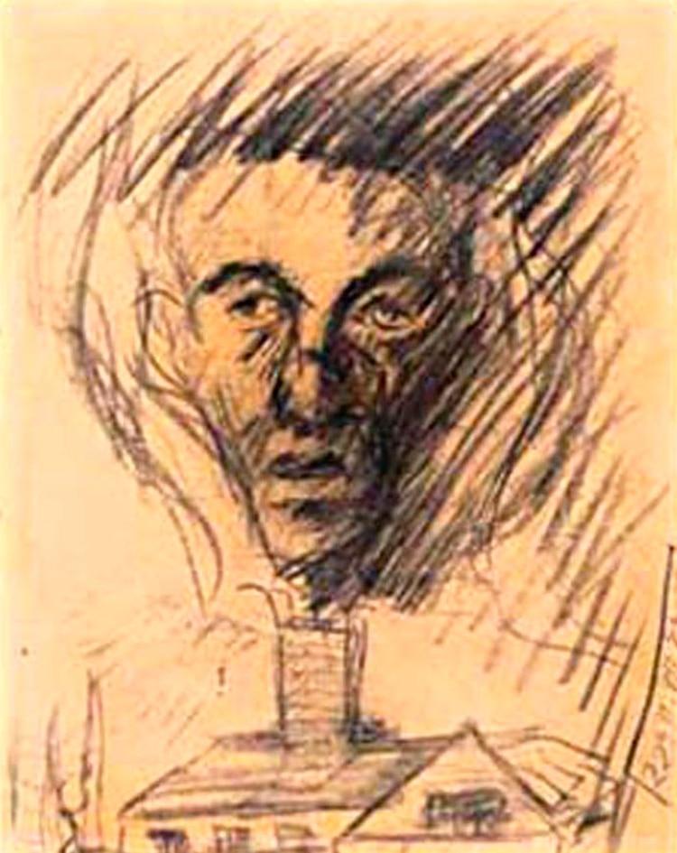 Muchos de los niños en los campos, dejaron también su arte. Acá, Yehuda Bacon, con 16 Años, al salir de Terezín, dibujó este retrato de su padre recientemente gaseado y cremado en Auschwitz. La cara de su progenitor emerge, demacrada, sobre una cortina de humo