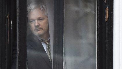 Julian Assange en la Embajada de Ecuador en Londres (AFP)