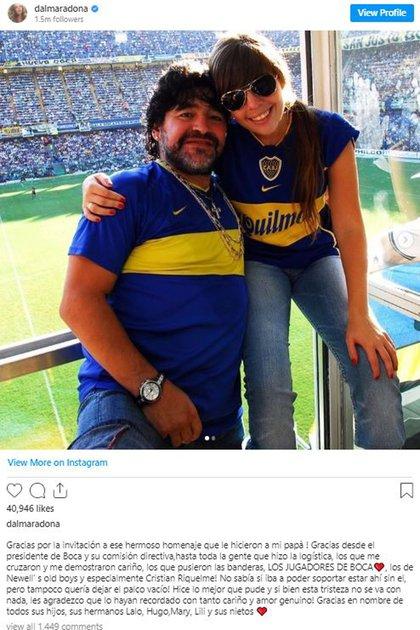 El posteo de Dalma Maradona en agradecimiento a los homenajes en la cancha de Boca