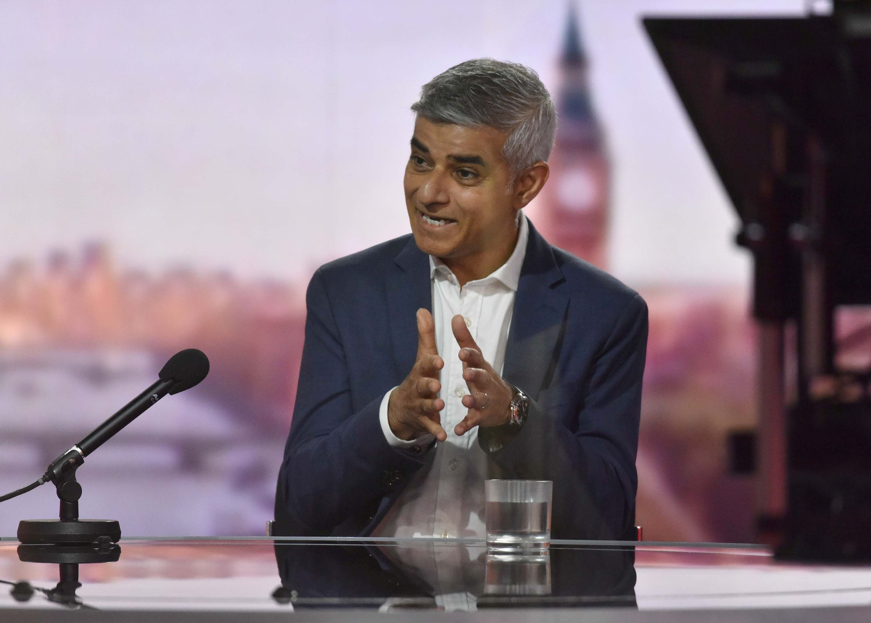 London's Mayor Sadiq Khan appears on the BBC TV's The Andrew Marr Show in London, Britain June 27, 2021. Jeff Overs/BBC/Handout via REUTERS ATTENTION EDITORS - THIS IMAGE HAS BEEN SUPPLIED BY A THIRD PARTY. NO RESALES. NO ARCHIVES. NO NEW USES AFTER 21 DAYS. MANDATORY CREDIT.
