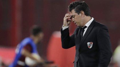 Marcelo Gallardo durante el encuentro que River jugó ante Nacional por la ida de los cuartos de final de la Copa Libertadores (REUTERS/Juan Ignacio Roncoroni)