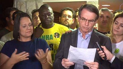 Bolsonaro durante su alocución tras el triunfo