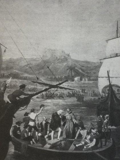 Cuadro que recrea la partida del Puerto de Palos.