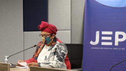 La senadora Victoria Sandino ante la JEP.
