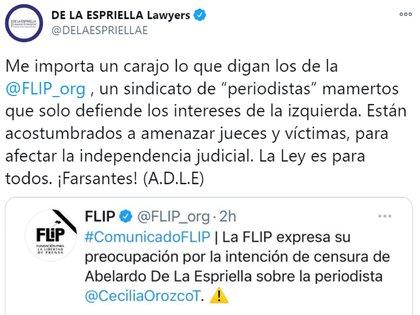 Respuesta de De La Espriella a la FLIP. Foto: Twitter De La Espriella.