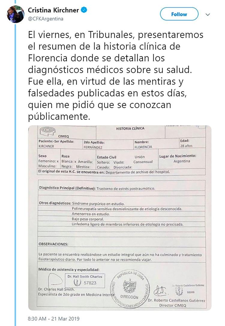 El tuit de Cristina Kirchner con el resumen clínico de su hija Florencia.