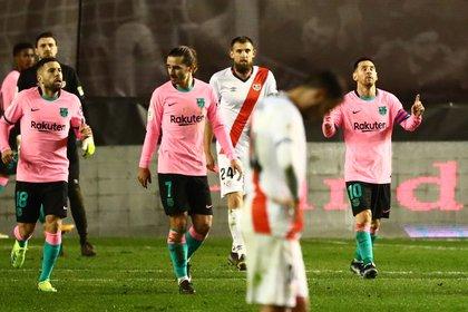 Lionel Messi celebra su gol ante el Rayo Vallecano por la Copa del Rey (REUTERS/Sergio Perez)