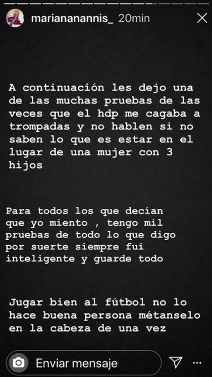 Otro de los mensajes de Mariana Nannis en su cuenta de Instagram