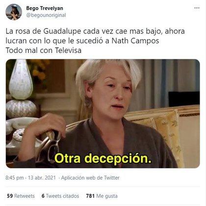 Muchas personas siguieron comentando sobre el asunto en redes hasta volver tendencia 'Nath Campos' (Foto: captura de pantalla de Twitter)