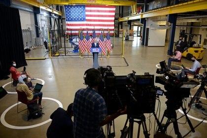 El discurso de Joe Biden en Pensilvania. Foto: REUTERS/Alan Freed