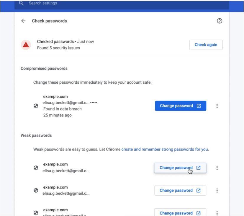 Google Chrome 88 revisar contraseñas