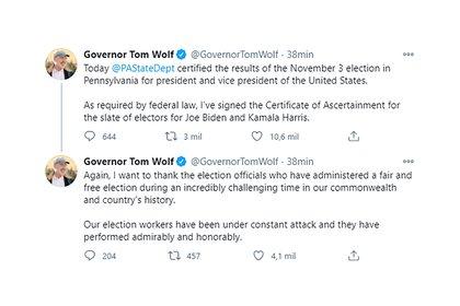 Los tuits del gobernador de Pensilvania