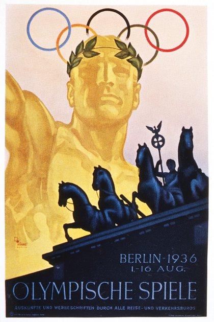 El poster oficial de los Juegos Olímpicos Berlín 1936 (Shutterstock)