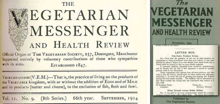 "Entre 1909 y 1912, el diario de la Sociedad Vegetariana, The Vegetarian Messenger and Health Review ( TVMHR ), presentó un informe ""vigoroso"" sobre productos animales no cárnicos y reveló que en la entidad algunos miembros evitaban consumirlos."
