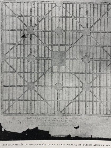 El plano, impreso en Londres, sobre un hipotético diseño de la ciudad de Buenos Aires. Los británicos imaginaban una ciudad completamente distinta.