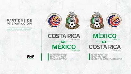 El organismo indicó que el Tri femenil enfrentará a su similar de Costa Rica los días 20 y 23 de febrero en la Ciudad de México (Foto: Twitter/ @miseleccionmx)