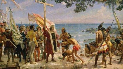 El desembarco de Colón en una pintura de José Garnelo (Foto: Archivo)