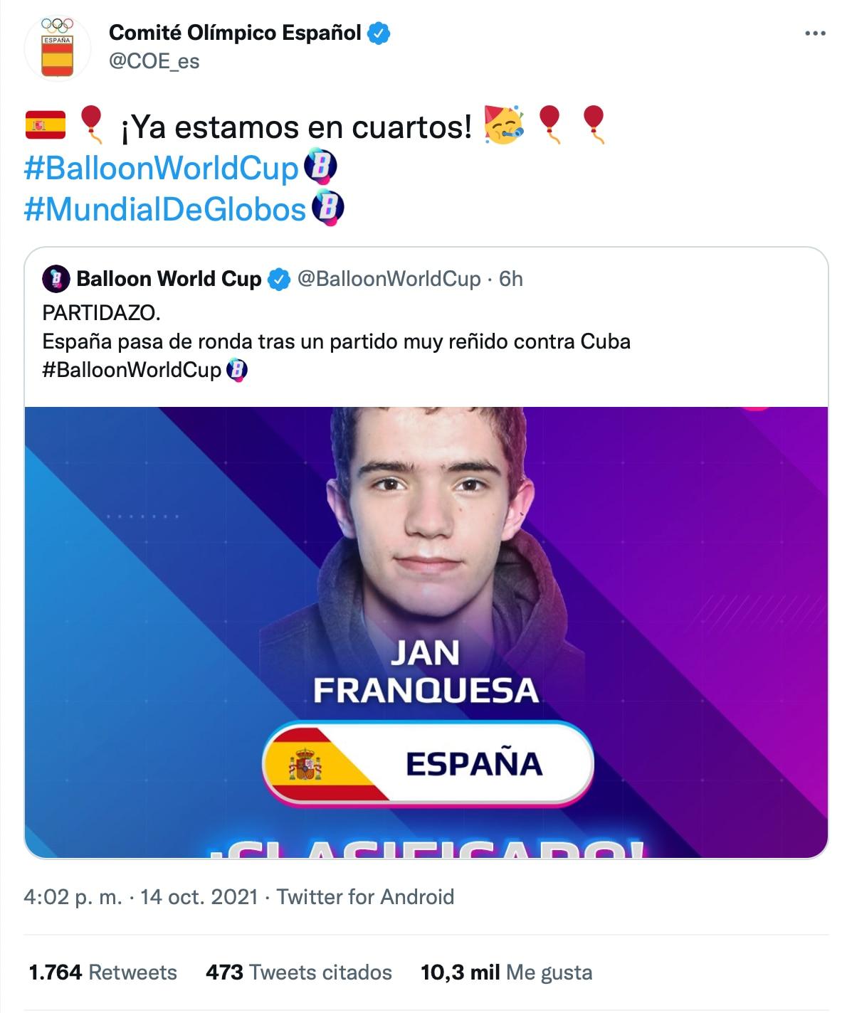 Comité Olímpico Español. (twitter: COE_es)