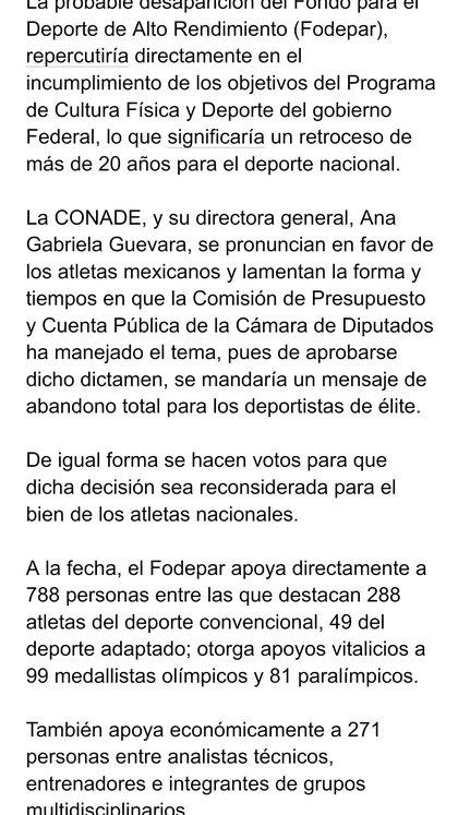 Comunicado de la Conade (Foto: Conade)