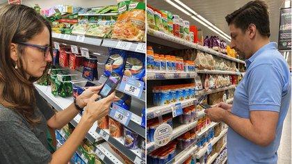"""La ministra Elizabeth Gómez Alcorta (Mujeres, Género y Diversidad) y el ministro Nicolás Trotta (Educación) a principios de año, cuando por instrucción del jefe de Gabinete, salieron a hacer """"control de precios"""" en los supermercados"""
