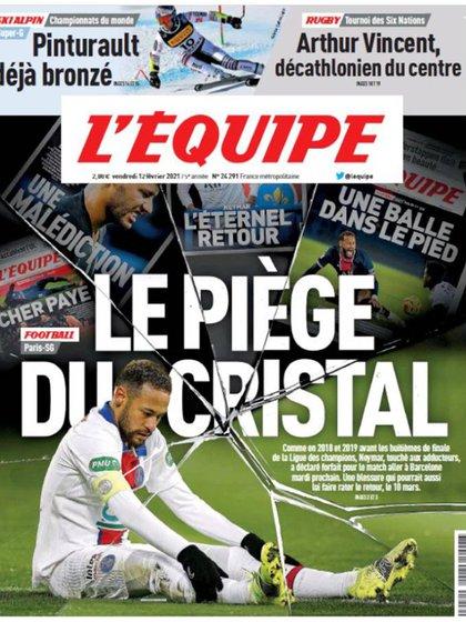 La portada de L'Equipe sobre una nueva lesión de Neymar (Foto: L'Equipe)