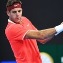 Juan Martin del Potro of Argentina hits a return during his men's singles second round match against Karen Khachanov of Russia at the China Open tennis tournament in Beijing on October 3, 2018. / AFP PHOTO / GREG BAKER
