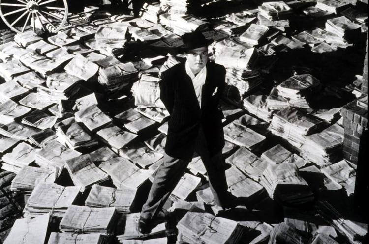 Orson Welles en una imagen promocional de la gran película, estrenada en 1941, que lo llevó a la gloria: El Ciudadano Kane