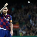Barcelona's Argentine forward Lionel Messi celebrates his goal during the Spanish league football match between FC Barcelona and Sevilla FC at the Camp Nou stadium in Barcelona on October 6, 2019. (Photo by Josep LAGO / AFP)