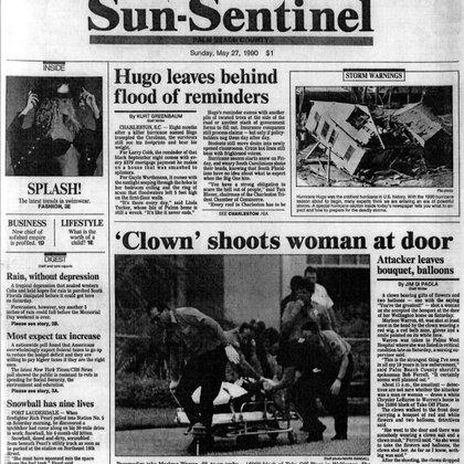 Los diarios de la época muestran la conmoción que generó el caso. Aqui la portada de The Sun Sentinel con una fotografía que muestra el momento en que trasladan a Marlene al hospital, donde moriría dos días después
