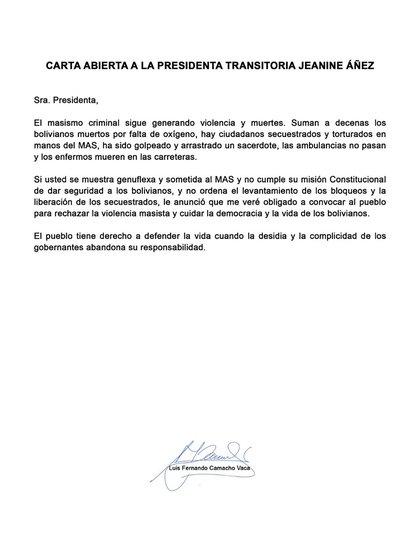 La carta completa de Camacho