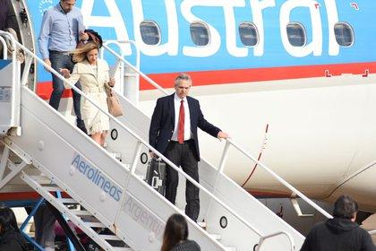 Alberto Fernández en un viaje a Misiones cuando era candidato a presidente
