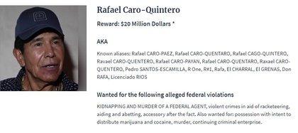 """La ficha de recompensa por la captura de Rafael Caro Quintero, """"El Narco de Narcos"""" (Foto: DEA. gov)"""